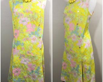 Groovy Plus Size Pastel Floral Dress // Mod 70s Neon Plus Size Vintage Dress