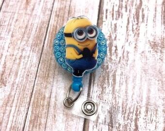 Minion Despicable Me Disney Pixar Cute Badge Reel Retractable Work Id Nurse RN Cna Nicu Pediatric Medical Assistant Technician Bling Blue
