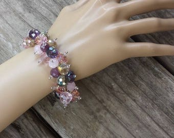 Glass Faceted Beaded Stretch Bracelet, Clear Shades of Pinks Purples Beads