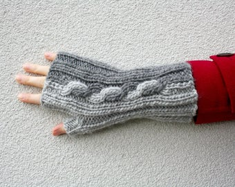 Cable Fingerless Gloves, Hand Knitted Long Gloves, Gray Gloves Two Tone Cable, Grey Mens Gloves, Womens Winter Fashion, Gift for Teen