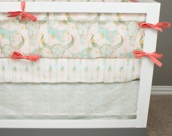Boho Baby Bedding Girl, Butterfly Skull Crib Bedding Southwestern, Watercolor Floral Arrows, Lace Crib Bedding, Coral, Salmon, Blush Mint