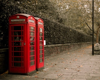 London Print, Photo, Phone Booths, England, Red, Cityscape, Travel Photography, Urban Landscape, Home Decor, Anglophile, Wanderlust Print