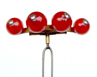Late Victorian carnelian balls hair comb hair accessory hair jewelry hair pin hair pick hair fork decorative comb