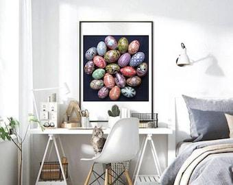 Pysanky egg poster, Ukrainian Easter eggs, pysanky eggs designs, XL batik egg poster, extra large poster with pysanky eggs, Easter gifts