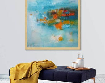 Turquoise Orange modern abstract Art, Modern Loft wall art, contemporary minimalist wall canvas, XL art print, Extra large giclee canvas