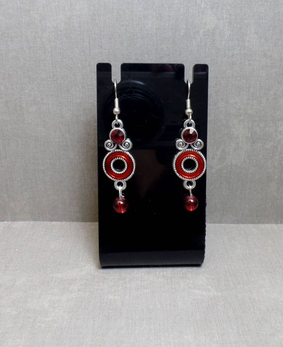 Red Circle Drop Earrings With Rhinestone Accent - Red Abstract earrings - Red Drop Earrings - Free US Shipping