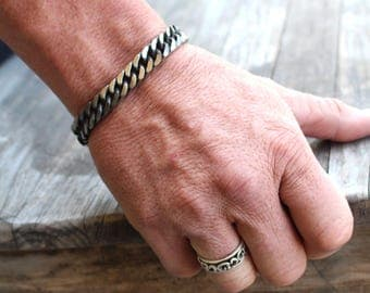 Thick Antiqued Stainless Steel Chain Link Bracelet for Men , Bracelets for Men , Biker Bracelet , Punk Rock Jewelry