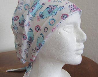 Elephants Tie-back Surgical Scrub Hat