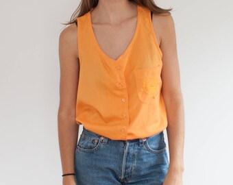 Pumpkin crest top - sleeveless button down nautical tank - M
