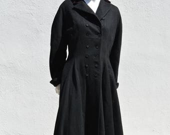 Vintage 50's Seymour Fox new look coat overcoat mid century classic american design tailored full skirt sM by thekaliman