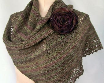 Ladies Knitted Lace Wrap in Olive Green and Purple