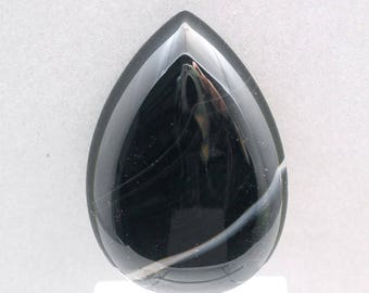 BLACK ONYX large cabochon drop 35X50mm pear designer cab