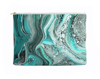 Marbled pencil case, turquoise pencil pouch, teal pencil case, zippered pouch, toiletry bag, cosmetic pouch, cosmetic bag, pencil bag