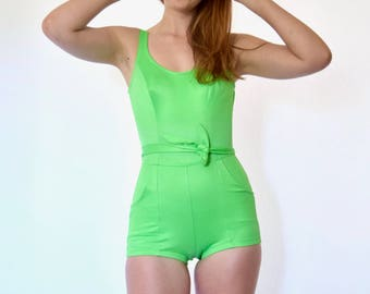 60s Neon Green Low Back Belted Pockets Boyleg One Piece Swimsuit xs s