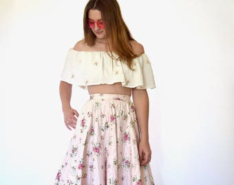 50s Pale Pink Calico Floral Quilted Full Circle Midi Skirt xs