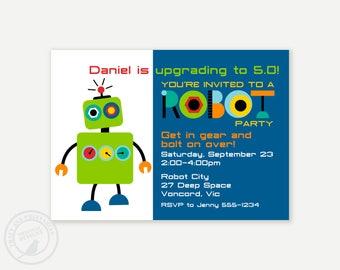 Robot Birthday Invitation, Custom Invitation, Printable Birthday Invitation, DIY,  Robot Party Decor, Boy Birthday Party 1151