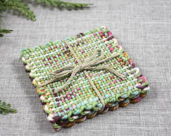 Hand woven drink coasters for housewarming gift, unique gifts coaster set of 4 for home decor