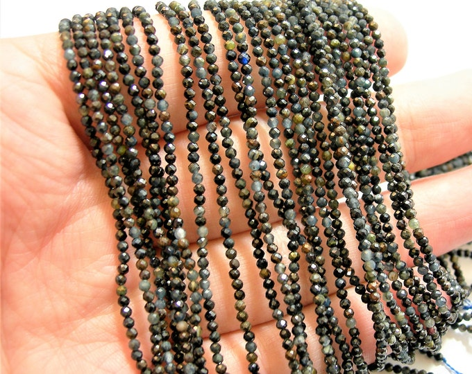 Blue tiger eyes  - 2mm faceted round beads - full strand  205 beads - micro facted tiger eyes - PG80