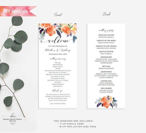 Printable Orange Purple Floral Double Sided Long Wedding Program