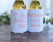 Wedding Favors - Let Love Brew Personalized Wedding Can Coolers, Reception Favors for Guests, Beer Insulators, Stubby Holders, Fall Wedding