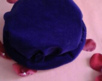 Velvet Bucket Hat | 90s vintage purple velvet elastic opening - hipster hip hop clob kid women unisex cap