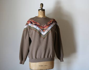 Chevron Crew Neck | southwestern 80s vintage ikat unisex long sleeve sweatshirt pullover jumper cotton soft warm sweater taupe brown ikat