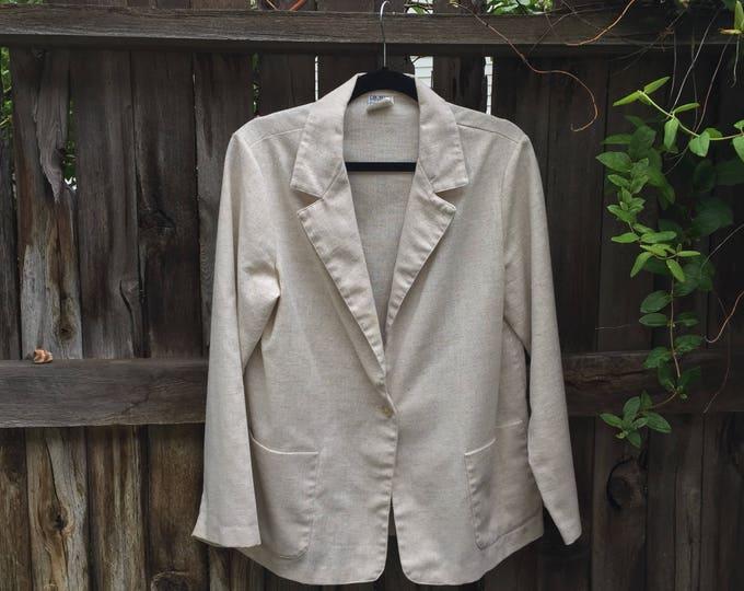 light height minimalist avon vintage fashions unisex women 80s 1980s office wear work professional blazer suit coat large L preppy kitsch
