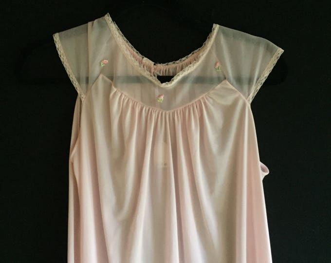Pastel Slip   60s vintage sheer collar bone mod mid century womems medium large lounge wear slip dress lightweight pale feminine M L
