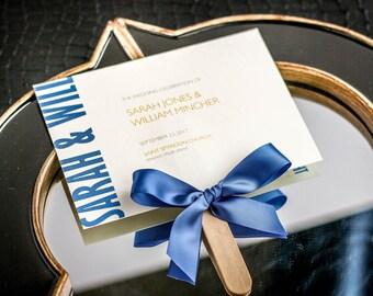 Modern Fan Programs Blue And Yellow Wedding Program With Ribbon Cornflower Order