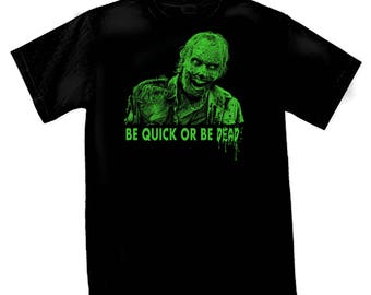 "TSHIRT black man zombie ""be quick or be dead"""
