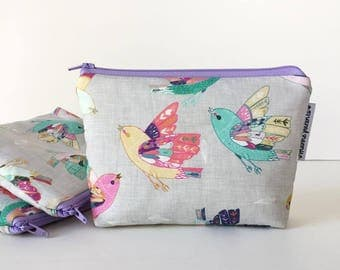 simple pouch -- linen sparrows