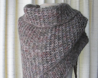 Hand Knit WARM Shawl Triangle Scarf in TAUPE BROWN Mohair Wool  / Virgin wool Shawl / Feminine Gift / Ready to ship