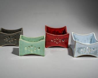 Ceramic Sponge Holder , Kitchen Sponge Holder , Kitchen Storage , Square  Sponge, Green Ceramic