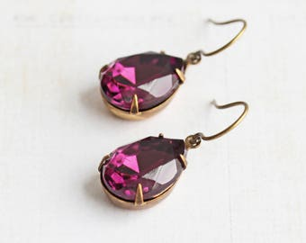 Purple Drop Earrings, Rhinestone Teardrop Earrings with Antiqued Brass Hooks, Prom Jewelry