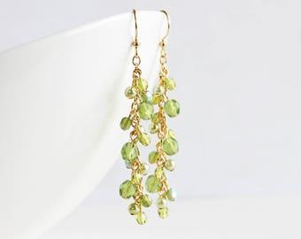 Long Olive Green Beaded Cluster Dangle Earrings on Gold Plated Hooks
