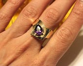 RESERVED   Vintage Amethyst cocktail ring, statement piece, very heavy in gold