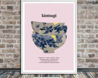 Kintsugi ceramics (on light pink), Kintsukuroi, Japanese aesthetics, Poster, Healing, Words, Printable Art, Instant Digital Download