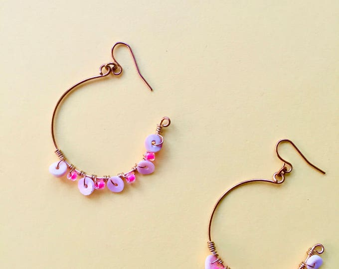 Featured listing image: White Shell & Pink Beaded Wire Wrapped Hoop Earrings