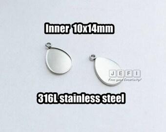 50 316L Stainless Steel 10x14mm Teardrop Bezel Setting W/ Closed ring Pendant Blanks Wholesale Surgical Steel Hypoallergenic