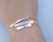 Personalized Bar Bracelet - Your Choice Rose Gold, 14k Gold-Filled, Sterling Silver - Custom Name Bracelet - Latitude & Longitude Bracelet