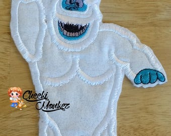 Ready to Ship RTS Boutique Custom Christmas Xmas Inspired Rudolph misfit Bumble Snow Monster embroidery Applique Iron On Patch DIY 5x7