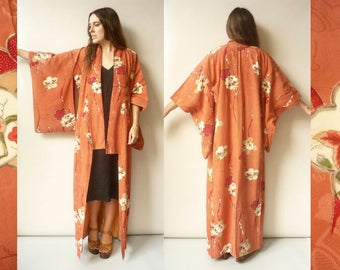 1950's Vintage Japanese Deco Floral Full Length Kimono Robe Duster Jacket