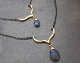 Labradorite necklace, blue topaz cz pendant, mixed metal necklace, double chain, 2 pendants, genuine gemstone, layering necklace