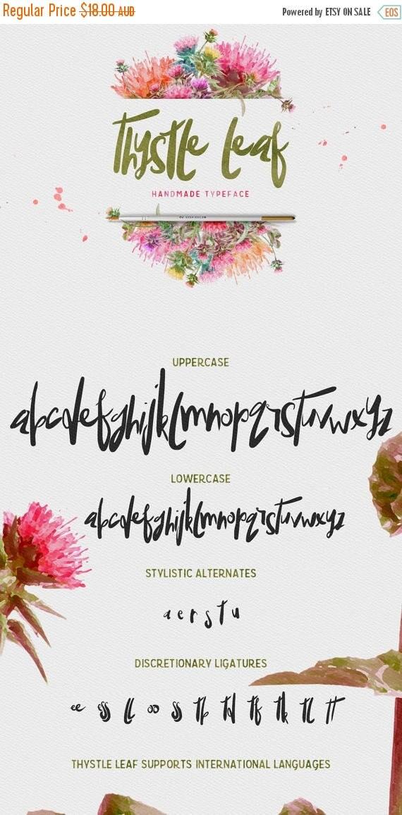 Digital Fonts 80% Off SALE Thystle Leaf Typeface - Display Fonts - Handmade semi script with irregular baseline