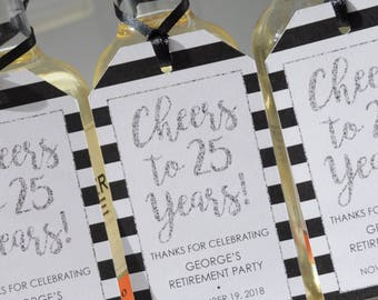 Retirement Wine Favor Tags, Party Favor Tags, Happy Retirement, Mini Wine Bottle Tags, Champagne Tags, Silver Cheers to 25 Years - Set of 12