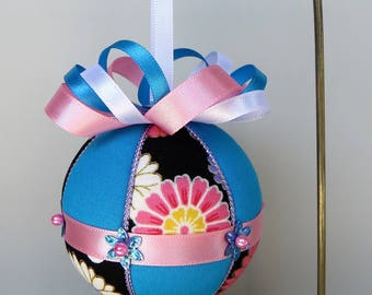 Christmas Ornament Materials Kit - Black Floral, Turquoise with Pink and Lavender Trim - Hansha