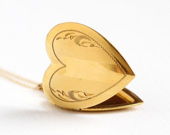 Vintage 10k Rosy Yellow Gold Filled Large Heart Locket Necklace - 1940s Sweetheart Vine Pendant Charm Signed Carl Art Jewelry