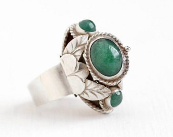 Sale - Vintage Taxco Mexican Sterling Silver Aventurine Quartz Poison Ring - Retro Adjustable Statement Green Gem Locket Compartment Jewelry