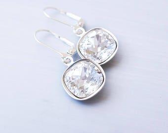 Earrings, Dangle Earrings, Drop Earrings, Crystal Earrings, Silver Earrings, Swarovski Earrings, Bridesmaid Earrings, Bridesmaid Gift, Gift