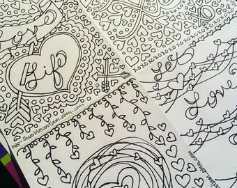 Valentine's Day or Galentine's Day four-pane coloring page, printable download adult coloring page